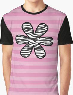 Flower, Animal Print, Zebra Stripes - Black White Graphic T-Shirt