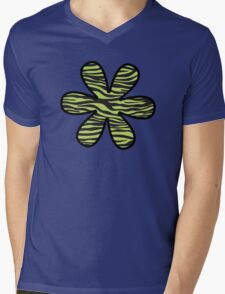 Flower, Animal Print, Zebra Stripes - Black Green  Mens V-Neck T-Shirt