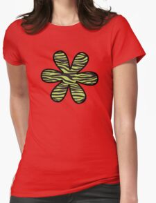 Flower, Animal Print, Zebra Stripes - Black Green  Womens Fitted T-Shirt