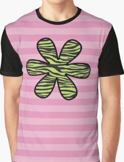 Flower, Animal Print, Zebra Stripes - Black Green  Graphic T-Shirt