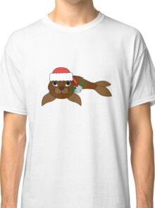 Brown Baby Seal with Santa Hat, Holly & Silver Bell Classic T-Shirt