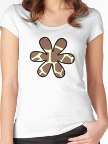 Flower, Animal Print (Giraffe Pattern) - Brown Yellow  Women's Fitted Scoop T-Shirt