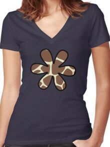 Flower, Animal Print (Giraffe Pattern) - Brown Yellow  Women's Fitted V-Neck T-Shirt