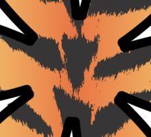 Flower, Animal Print, Tiger Stripes - Black Orange  Sticker