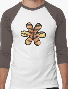 Flower, Animal Print, Tiger Stripes - Black Orange  Men's Baseball ¾ T-Shirt