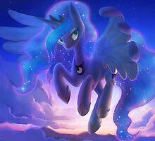 Princess Luna in the Sky by Dawnfire
