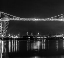Newport Transporter Bridge at Night Panorama by ChrisChallenger
