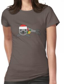 Gray Baby Seal with Santa Hat, Holly & Gold Bell Womens Fitted T-Shirt