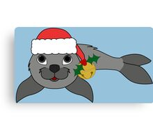 Gray Baby Seal with Santa Hat, Holly & Gold Bell Canvas Print