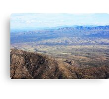 View from the moutain over looking far away city Canvas Print