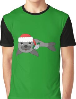 Gray Baby Seal with Santa Hat, Holly & Silver Bell Graphic T-Shirt