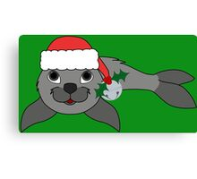 Gray Baby Seal with Santa Hat, Holly & Silver Bell Canvas Print