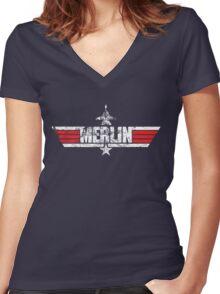 Custom Top Gun Style - Merlin Women's Fitted V-Neck T-Shirt