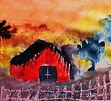 The barn might survivie  another  winter, watercolor by Anna  Lewis, blind artist