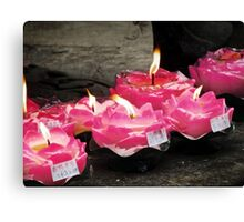 Lotus Candles  Canvas Print