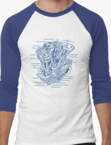 Detroit POWER! (blue ink) Men's Baseball ¾ T-Shirt