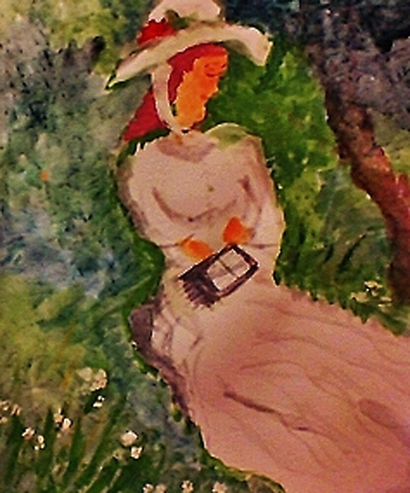 Girl waiting  #2 in the grass reading, watercolor by Anna  Lewis, blind artist