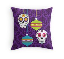 Holiday Skulls and Ornaments Throw Pillow