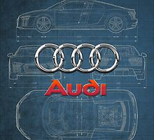 Audi 3D Badge over 2016 Audi R8 Blueprint by Serge Averbukh