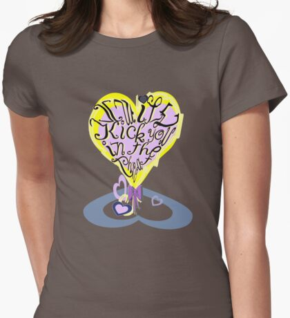 Lacy, girly heart - I will kick you in the throat. Womens Fitted T-Shirt