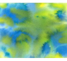 Blue and Green Abstract Watercolor Photographic Print