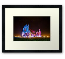 Whitby Abbey Ruined Benedictine abbey Illuminated for Halloween IMG 1692-A Framed Print