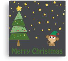 Merry Christmas Monkey Elf Canvas Print