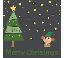Merry Christmas Monkey Elf Photographic Print
