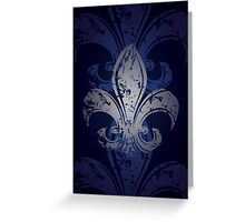 Grunge Fleur De Lis Greeting Card