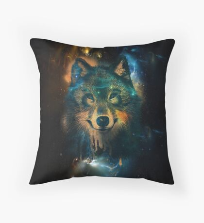 Galaxy Wolf Throw Pillow