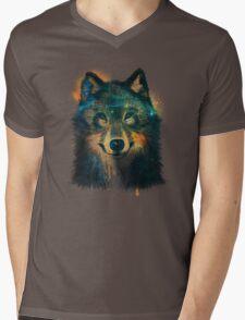 Galaxy Wolf Mens V-Neck T-Shirt