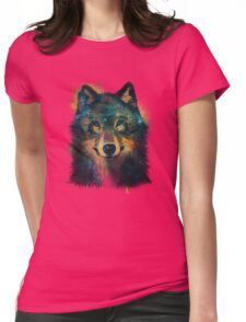 Galaxy Wolf Womens Fitted T-Shirt