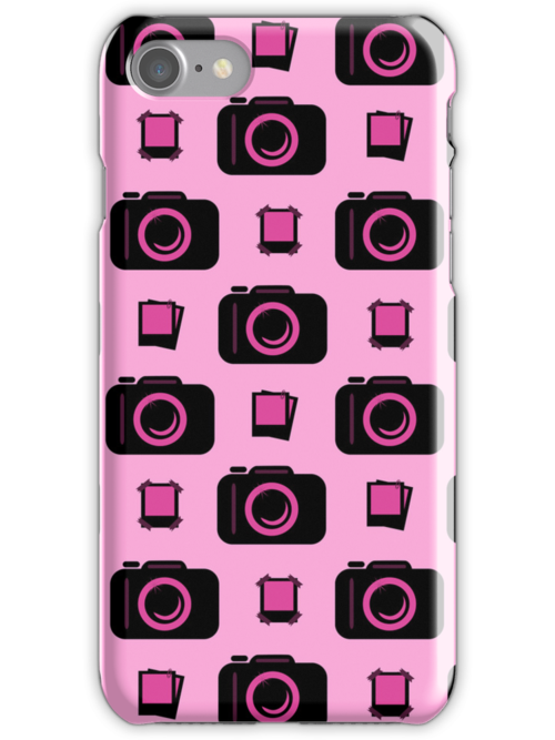 Retro Camera Pattern in Pink and Black by cikedo