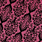 Tilted Pink and Black Victorian Damask by Cierra Doran