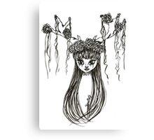 Antler Girl Ink Drawing Canvas Print