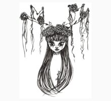 Antler Girl Ink Drawing One Piece - Short Sleeve