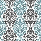 Vintage Light Blue Grey Damask by cikedo