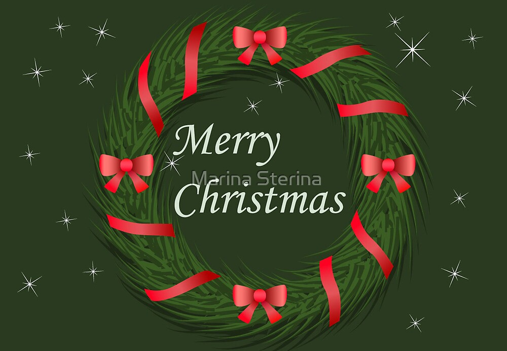 Christmas wreath with ribbon by Marishkayu