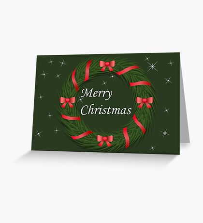 Christmas wreath with ribbon Greeting Card