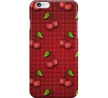 Cute Cherry Pattern on Red Plaid iPhone Case/Skin