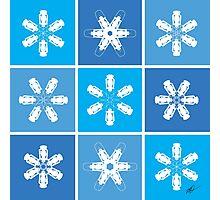 Winter Snowflake Lanterns Photographic Print