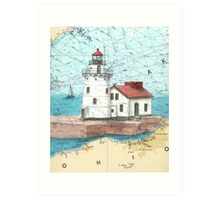 Cleveland Harbor Lighthouse OH Chart Cathy Peek Art Print