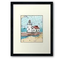 Cleveland Harbor Lighthouse OH Chart Cathy Peek Framed Print