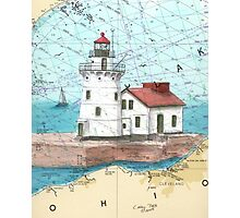 Cleveland Harbor Lighthouse OH Chart Cathy Peek Photographic Print