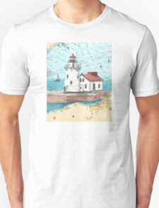 Cleveland Harbor Lighthouse OH Chart Cathy Peek T-Shirt