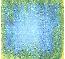 Blue and Green Abstract Mosiac Photographic Print