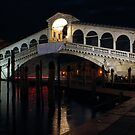 The Rialto Bridge in Venice by Night by kirilart