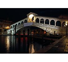 The Rialto Bridge in Venice by Night Photographic Print