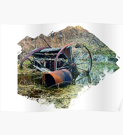 Rusty old farm equipment Poster