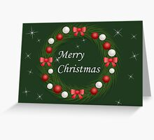 Christmas wreath with red and silver balls Greeting Card